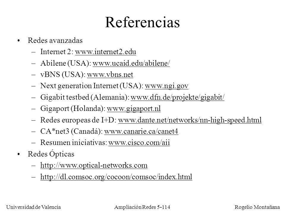 Universidad de Valencia Rogelio Montañana Ampliación Redes 5-114 Referencias Redes avanzadas –Internet 2: www.internet2.eduwww.internet2.edu –Abilene