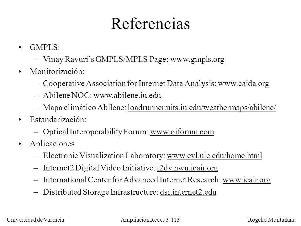 Universidad de Valencia Rogelio Montañana Ampliación Redes 5-115 Referencias GMPLS: –Vinay Ravuris GMPLS/MPLS Page: www.gmpls.orgwww.gmpls.org Monitorización: –Cooperative Association for Internet Data Analysis: www.caida.orgwww.caida.org –Abilene NOC: www.abilene.iu.eduwww.abilene.iu.edu –Mapa climático Abilene: loadrunner.uits.iu.edu/weathermaps/abilene/loadrunner.uits.iu.edu/weathermaps/abilene/ Estandarización: –Optical Interoperability Forum: www.oiforum.comwww.oiforum.com Aplicaciones –Electronic Visualization Laboratory: www.evl.uic.edu/home.htmlwww.evl.uic.edu/home.html –Internet2 Digital Video Initiative: i2dv.nwu.icair.orgi2dv.nwu.icair.org –International Center for Advanced Internet Research: www.icair.orgwww.icair.org –Distributed Storage Infrastructure: dsi.internet2.edudsi.internet2.edu
