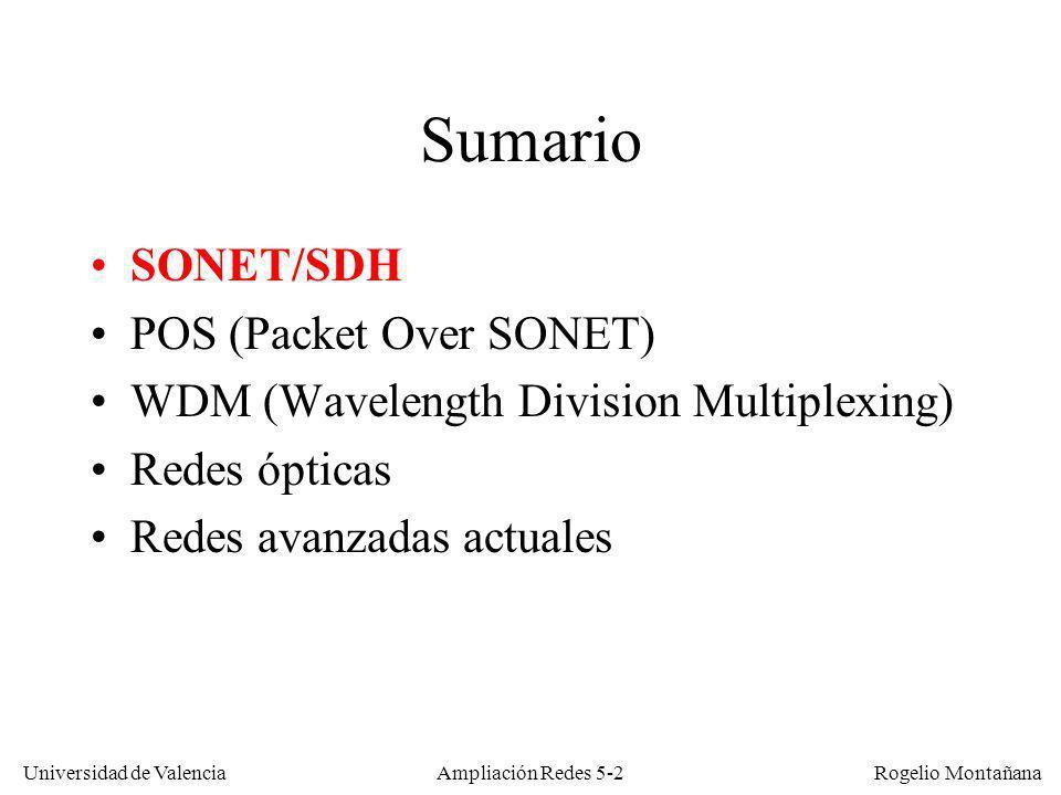 Universidad de Valencia Rogelio Montañana Ampliación Redes 5-2 Sumario SONET/SDH POS (Packet Over SONET) WDM (Wavelength Division Multiplexing) Redes
