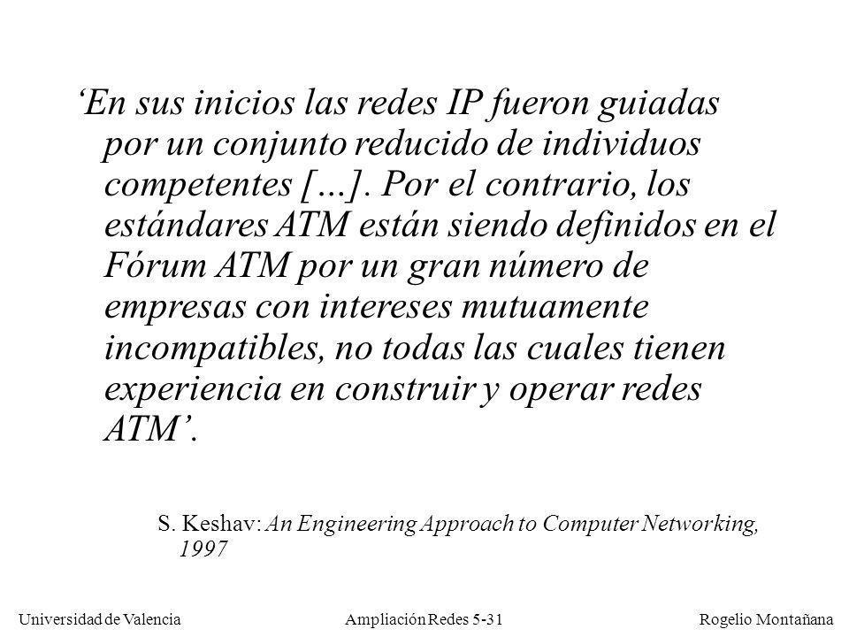 Universidad de Valencia Rogelio Montañana Ampliación Redes 5-31 En sus inicios las redes IP fueron guiadas por un conjunto reducido de individuos comp
