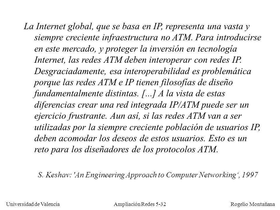 Universidad de Valencia Rogelio Montañana Ampliación Redes 5-32 La Internet global, que se basa en IP, representa una vasta y siempre creciente infrae