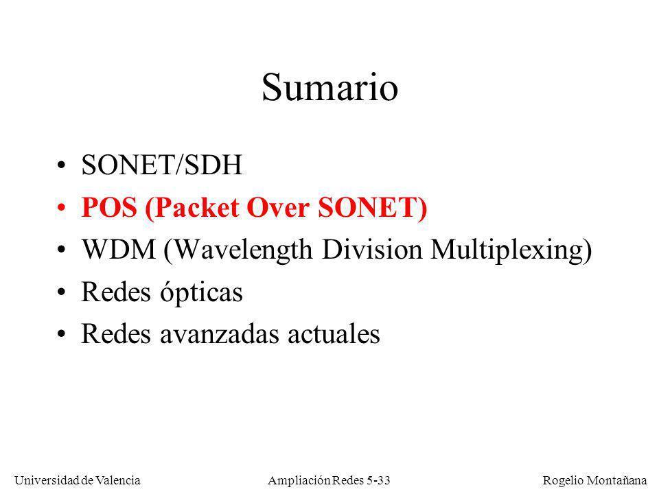 Universidad de Valencia Rogelio Montañana Ampliación Redes 5-33 Sumario SONET/SDH POS (Packet Over SONET) WDM (Wavelength Division Multiplexing) Redes