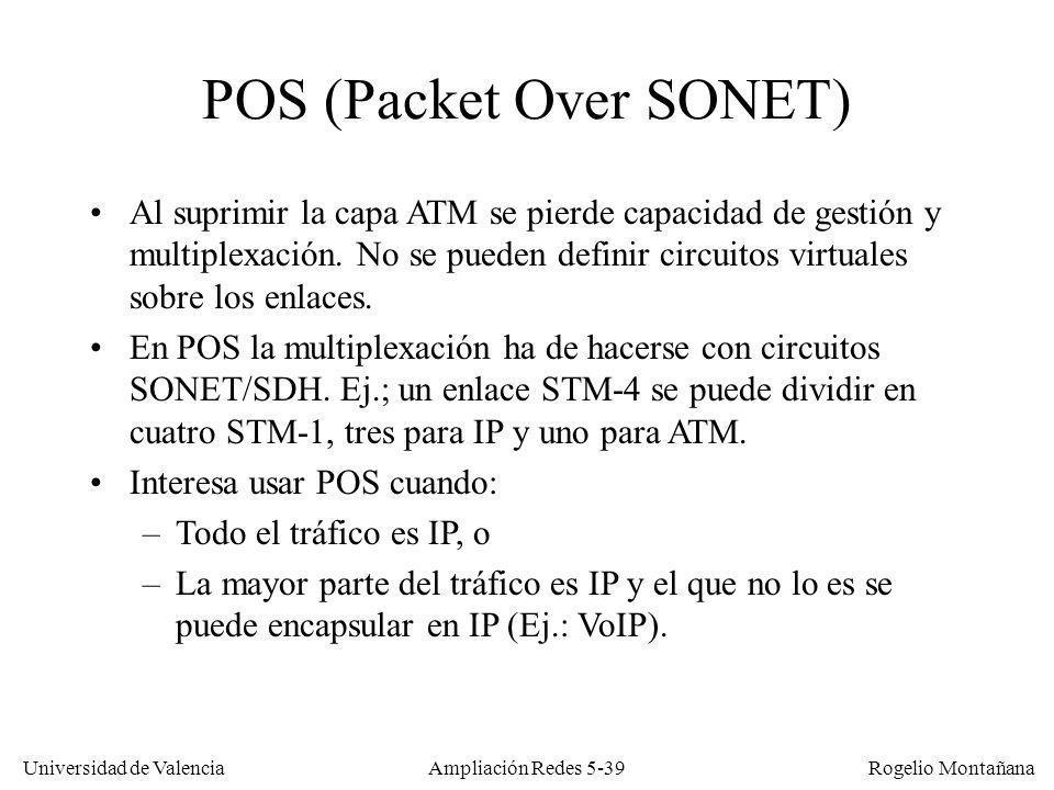 Universidad de Valencia Rogelio Montañana Ampliación Redes 5-39 POS (Packet Over SONET) Al suprimir la capa ATM se pierde capacidad de gestión y multi