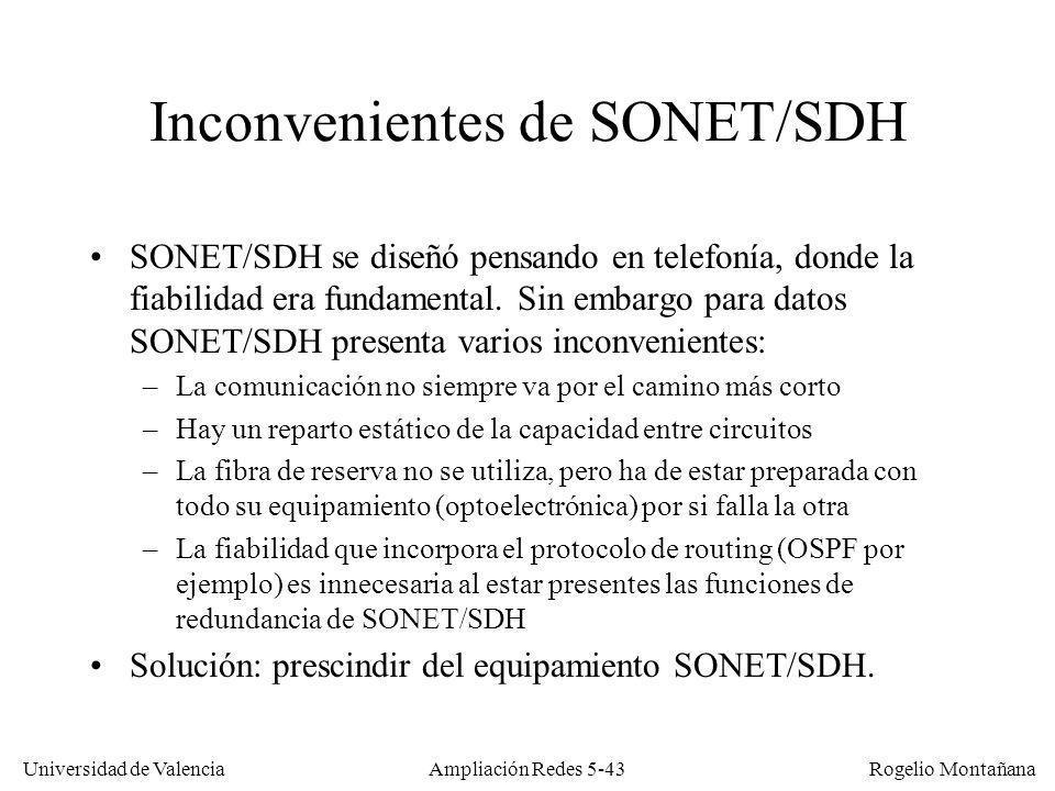 Universidad de Valencia Rogelio Montañana Ampliación Redes 5-43 Inconvenientes de SONET/SDH SONET/SDH se diseñó pensando en telefonía, donde la fiabil