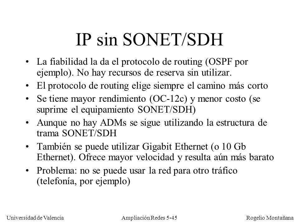 Universidad de Valencia Rogelio Montañana Ampliación Redes 5-45 IP sin SONET/SDH La fiabilidad la da el protocolo de routing (OSPF por ejemplo). No ha