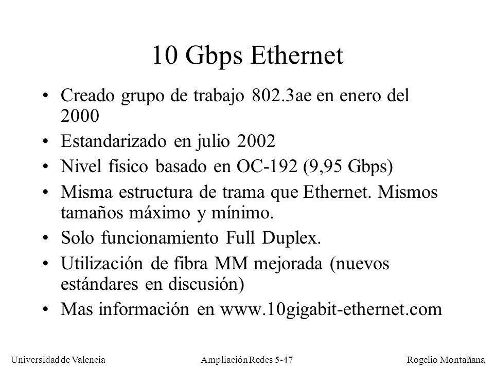 Universidad de Valencia Rogelio Montañana Ampliación Redes 5-47 10 Gbps Ethernet Creado grupo de trabajo 802.3ae en enero del 2000 Estandarizado en ju