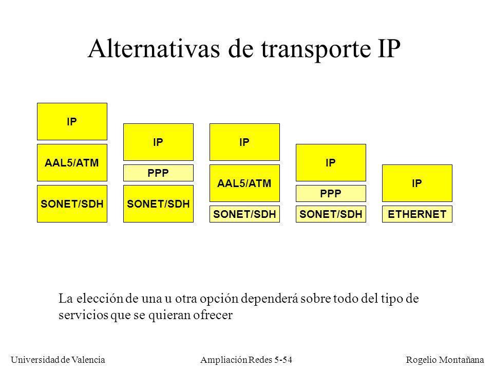 Universidad de Valencia Rogelio Montañana Ampliación Redes 5-54 Alternativas de transporte IP La elección de una u otra opción dependerá sobre todo de