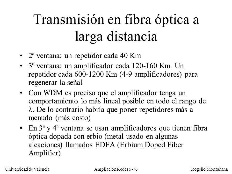 Universidad de Valencia Rogelio Montañana Ampliación Redes 5-76 Transmisión en fibra óptica a larga distancia 2ª ventana: un repetidor cada 40 Km 3ª v