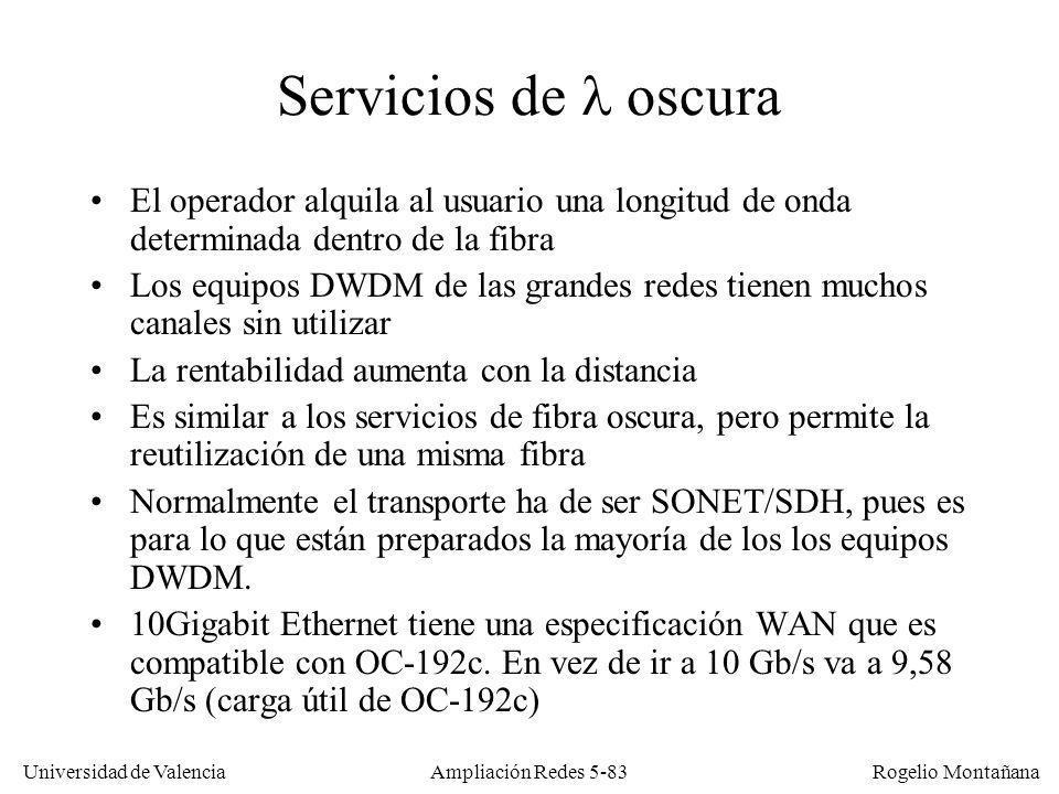 Universidad de Valencia Rogelio Montañana Ampliación Redes 5-83 Servicios de oscura El operador alquila al usuario una longitud de onda determinada de