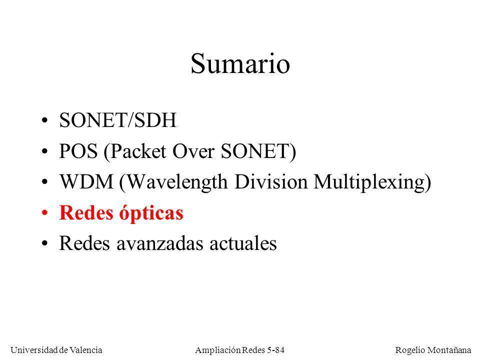 Universidad de Valencia Rogelio Montañana Ampliación Redes 5-84 Sumario SONET/SDH POS (Packet Over SONET) WDM (Wavelength Division Multiplexing) Redes