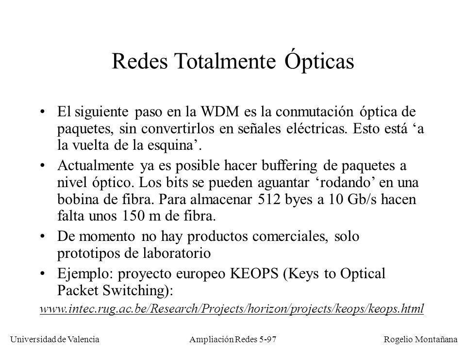 Universidad de Valencia Rogelio Montañana Ampliación Redes 5-97 Redes Totalmente Ópticas El siguiente paso en la WDM es la conmutación óptica de paque