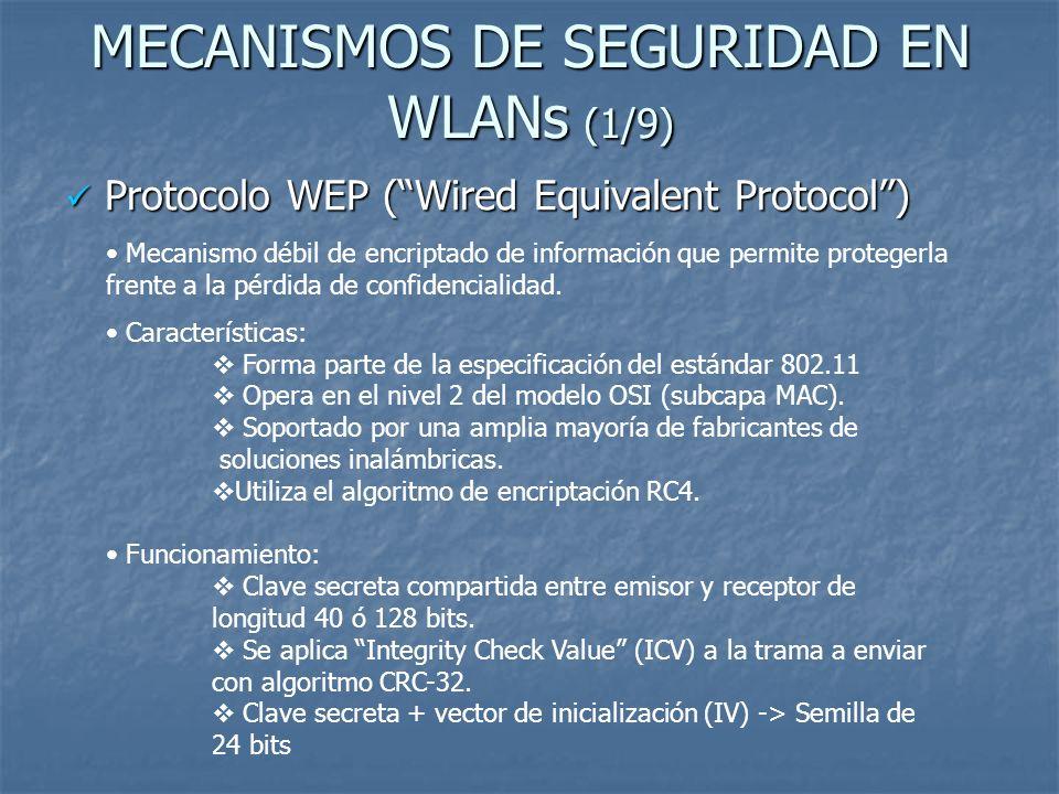 MECANISMOS DE SEGURIDAD EN WLANs (1/9) Protocolo WEP (Wired Equivalent Protocol) Protocolo WEP (Wired Equivalent Protocol) Mecanismo débil de encripta
