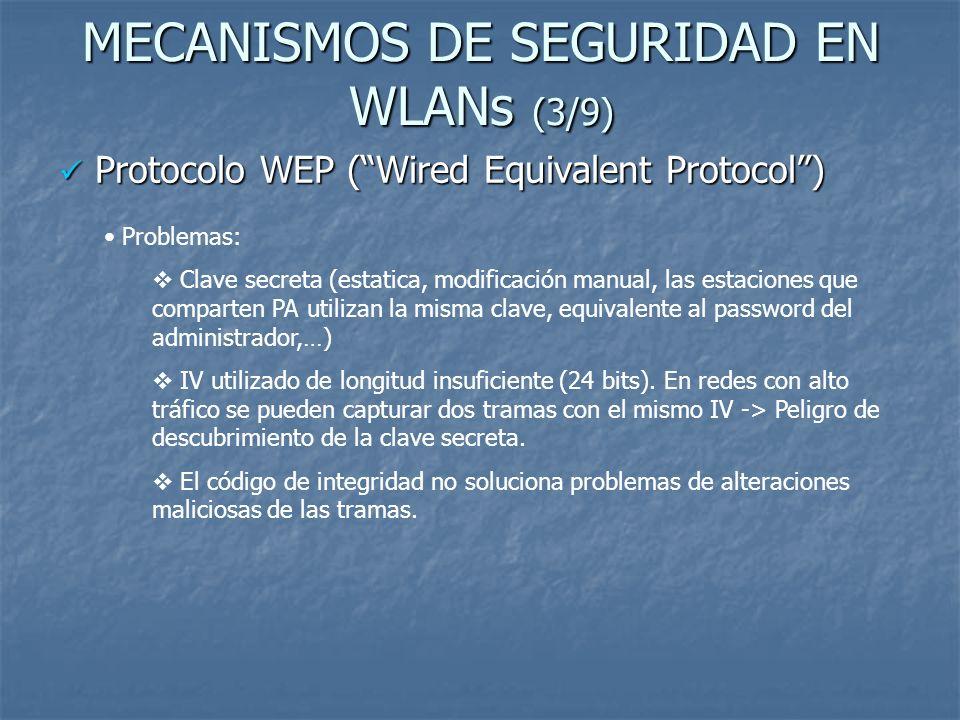 MECANISMOS DE SEGURIDAD EN WLANs (3/9) Protocolo WEP (Wired Equivalent Protocol) Protocolo WEP (Wired Equivalent Protocol) Problemas: Clave secreta (e
