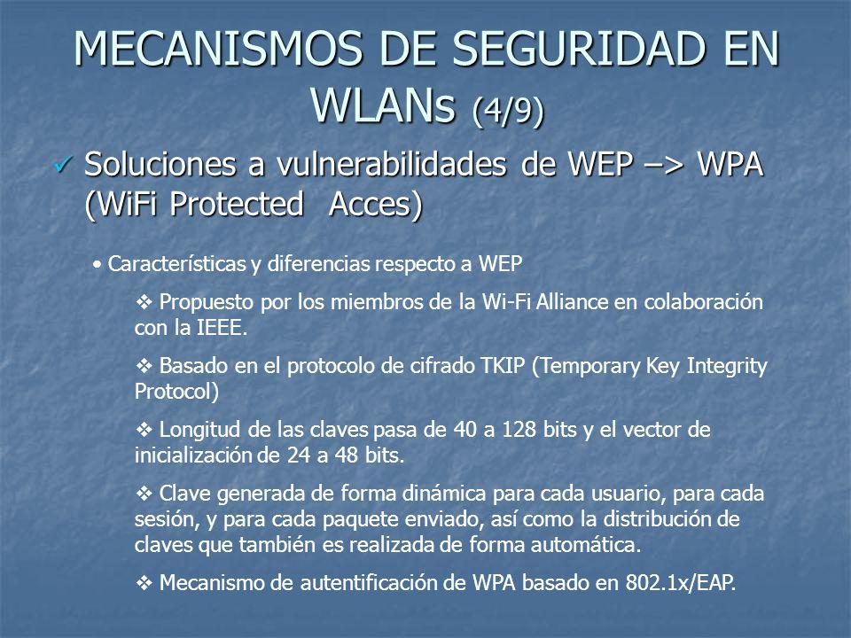 MECANISMOS DE SEGURIDAD EN WLANs (4/9) Soluciones a vulnerabilidades de WEP –> WPA (WiFi Protected Acces) Soluciones a vulnerabilidades de WEP –> WPA