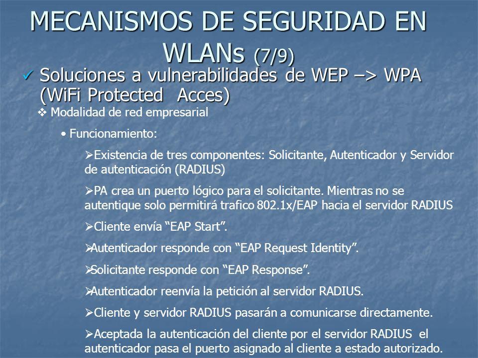 MECANISMOS DE SEGURIDAD EN WLANs (7/9) Soluciones a vulnerabilidades de WEP –> WPA (WiFi Protected Acces) Soluciones a vulnerabilidades de WEP –> WPA