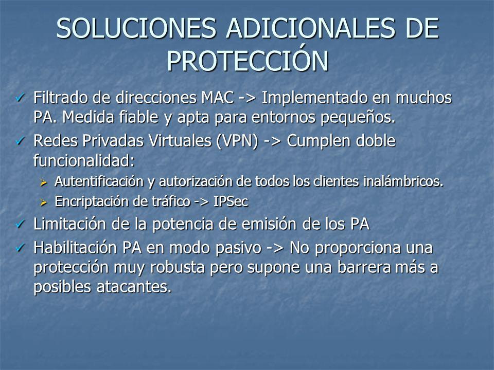 SOLUCIONES ADICIONALES DE PROTECCIÓN Filtrado de direcciones MAC -> Implementado en muchos PA. Medida fiable y apta para entornos pequeños. Filtrado d