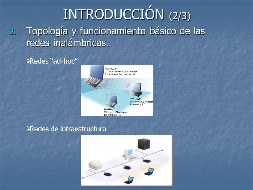 INTRODUCCIÓN (2/3) 2. Topología y funcionamiento básico de las redes inalámbricas. Redes ad-hoc Redes de infraestructura