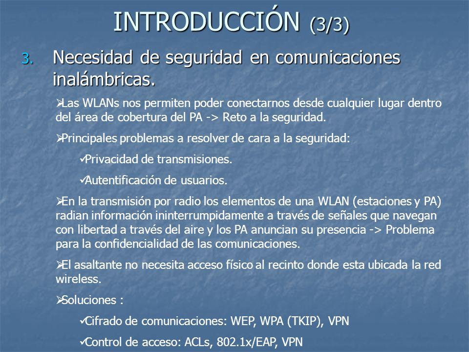 INTRODUCCIÓN (3/3) 3. Necesidad de seguridad en comunicaciones inalámbricas. Las WLANs nos permiten poder conectarnos desde cualquier lugar dentro del