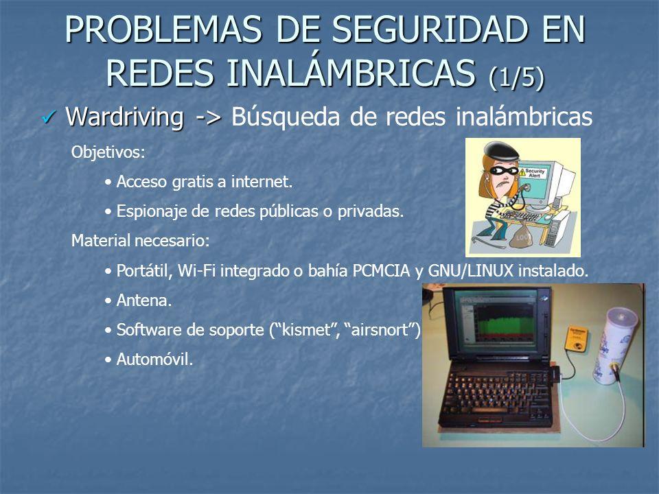 PROBLEMAS DE SEGURIDAD EN REDES INALÁMBRICAS (1/5) Wardriving -> Wardriving -> Búsqueda de redes inalámbricas Objetivos: Acceso gratis a internet. Esp