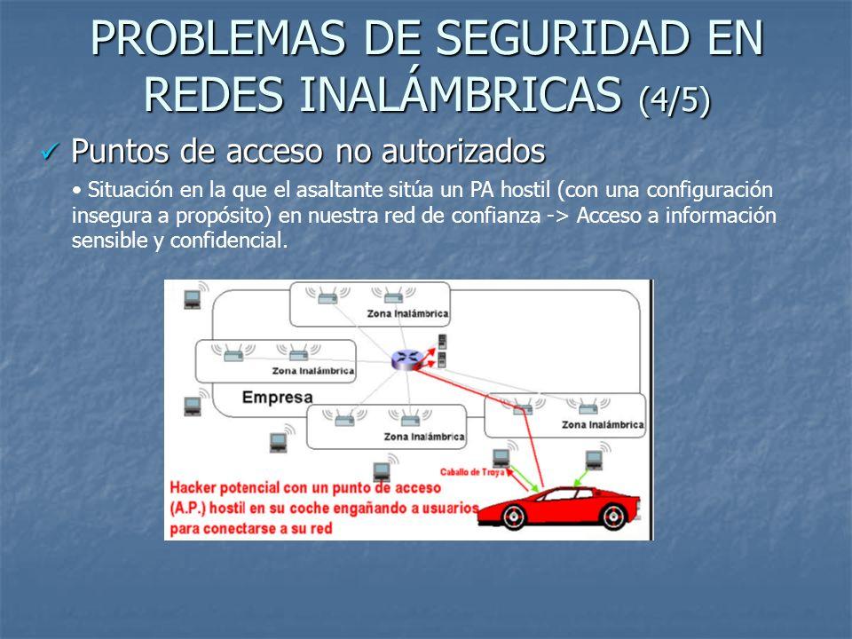 PROBLEMAS DE SEGURIDAD EN REDES INALÁMBRICAS (4/5) Puntos de acceso no autorizados Puntos de acceso no autorizados Situación en la que el asaltante si