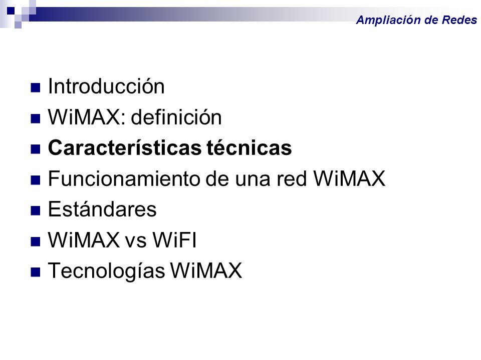 Introducción WiMAX: definición Características técnicas Funcionamiento de una red WiMAX Estándares WiMAX vs WiFI Tecnologías WiMAX Ampliación de Redes