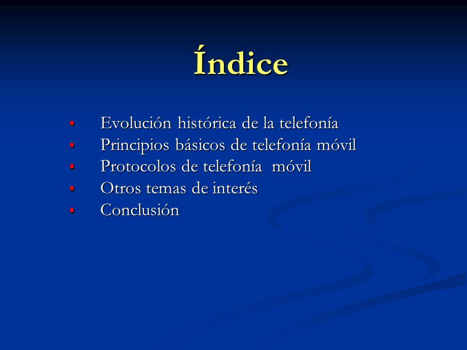 Índice Evolución histórica de la telefonía Evolución histórica de la telefonía Principios básicos de telefonía móvil Principios básicos de telefonía m