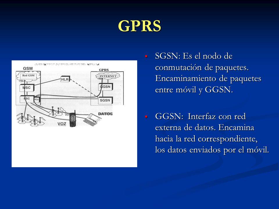 GPRS SGSN: Es el nodo de conmutación de paquetes. Encaminamiento de paquetes entre móvil y GGSN. GGSN: Interfaz con red externa de datos. Encamina hac