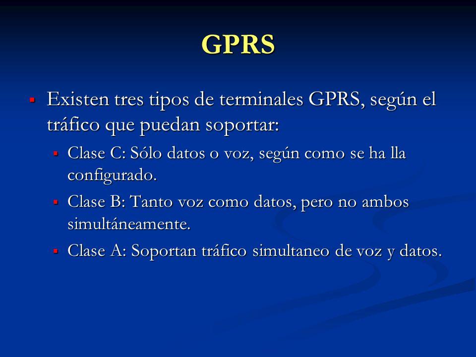 GPRS Existen tres tipos de terminales GPRS, según el tráfico que puedan soportar: Existen tres tipos de terminales GPRS, según el tráfico que puedan s