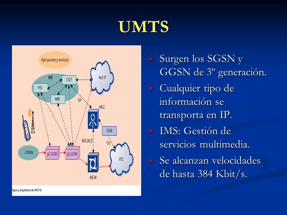 UMTS Surgen los SGSN y GGSN de 3º generación. Cualquier tipo de información se transporta en IP. IMS: Gestión de servicios multimedia. Se alcanzan vel
