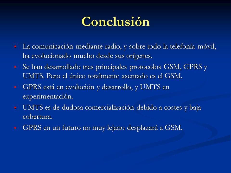 Conclusión La comunicación mediante radio, y sobre todo la telefonía móvil, ha evolucionado mucho desde sus orígenes. La comunicación mediante radio,