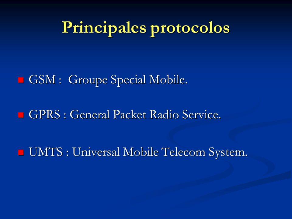 Principales protocolos GSM : Groupe Special Mobile. GSM : Groupe Special Mobile. GPRS : General Packet Radio Service. GPRS : General Packet Radio Serv