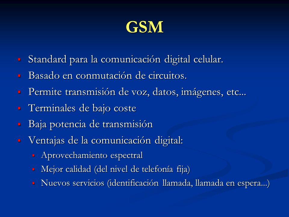 GSM Standard para la comunicación digital celular. Standard para la comunicación digital celular. Basado en conmutación de circuitos. Basado en conmut