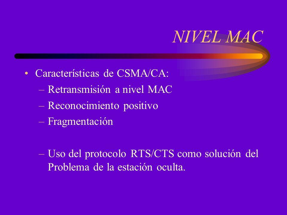 NIVEL MAC Características de CSMA/CA: –Retransmisión a nivel MAC –Reconocimiento positivo –Fragmentación –Uso del protocolo RTS/CTS como solución del Problema de la estación oculta.