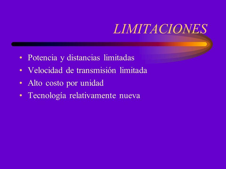 LIMITACIONES Potencia y distancias limitadas Velocidad de transmisión limitada Alto costo por unidad Tecnología relativamente nueva
