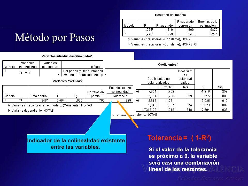 Método por Pasos Indicador de la colinealidad existente entre las variables. Tolerancia = ( 1-R 2 ) Si el valor de la tolerancia es próximo a 0, la va