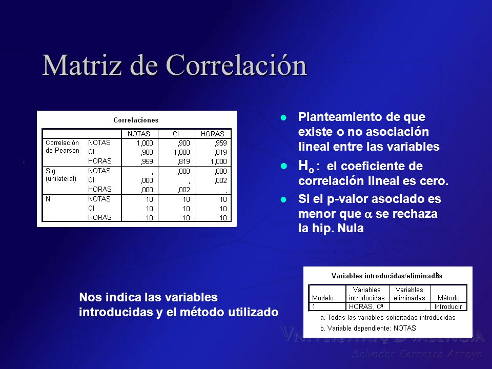 Matriz de Correlación Planteamiento de que existe o no asociación lineal entre las variables H o : el coeficiente de correlación lineal es cero. Si el