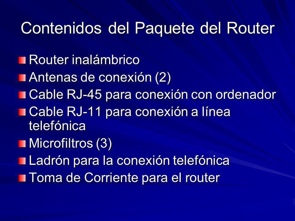 Contenidos del Paquete del Router Router inalámbrico Antenas de conexión (2) Cable RJ-45 para conexión con ordenador Cable RJ-11 para conexión a línea