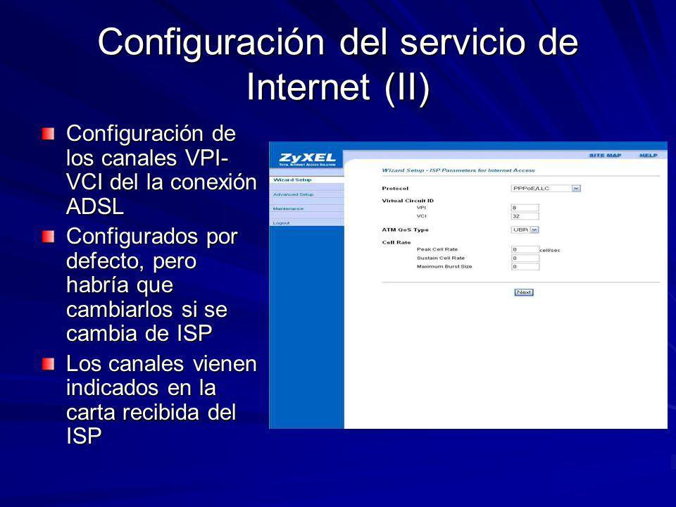Configuración del servicio de Internet (III) Configuración del nombre de usuario y contraseña para el acceso al ADSL y el tipo de IP suministrada por el ISP Configurados por defecto, pero habría que cambiarlos si se cambia de ISP Ambos valores vienen indicados es la carta recibida del ISP.