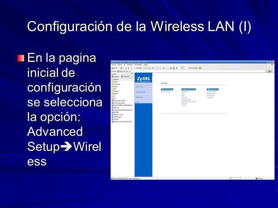 Configuración de la Wireless LAN (II) ESSID: Nombre de la Red Inalámbrica Hide ESSID: NO Channel ID: Canal por el que se transmitirá WEP Encryption: Cifrado de las comunicaciones inalámbricas Key*: Clave de cifrado que se usará