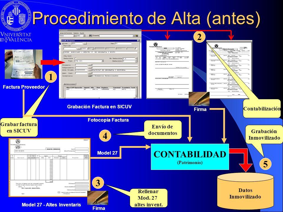 Procedimiento de Alta (antes) Grabación Factura en SICUV Factura Proveedor CONTABILIDAD (Patrimonio) 2 Firma Contabilización 1 Grabar factura en SICUV