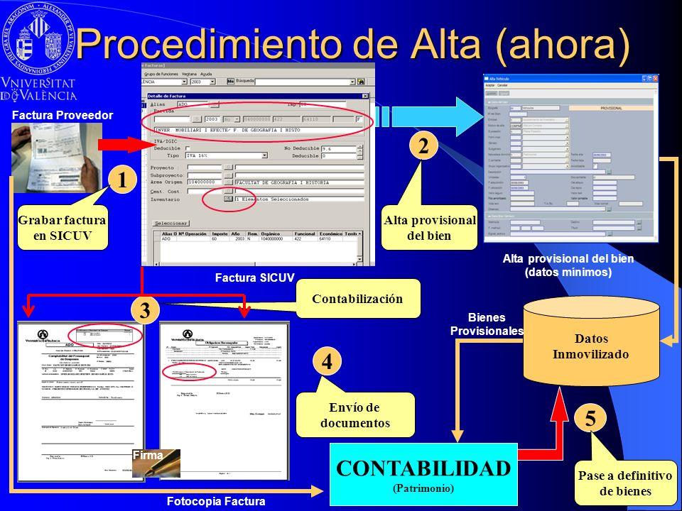 Factura SICUV Procedimiento de Alta (ahora) Factura Proveedor CONTABILIDAD (Patrimonio) Datos Inmovilizado 5 Pase a definitivo de bienes Alta provisio