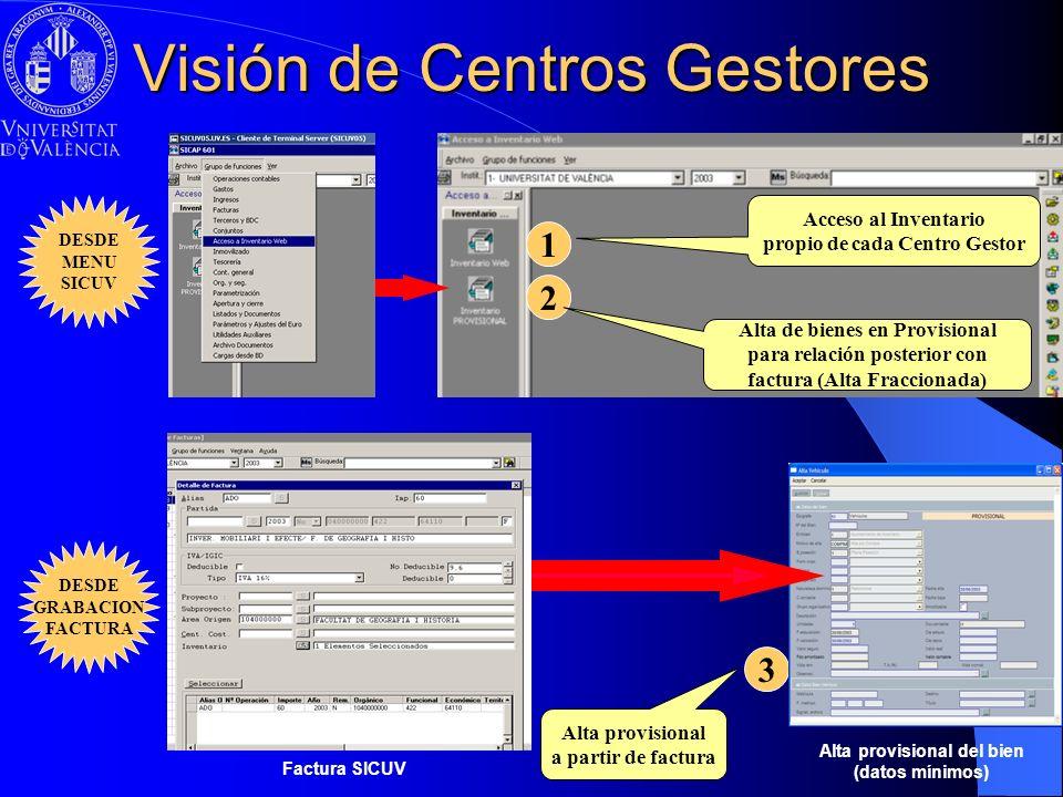 Visión de Centros Gestores 3 Alta provisional a partir de factura Alta provisional del bien (datos mínimos) 1 Acceso al Inventario propio de cada Cent