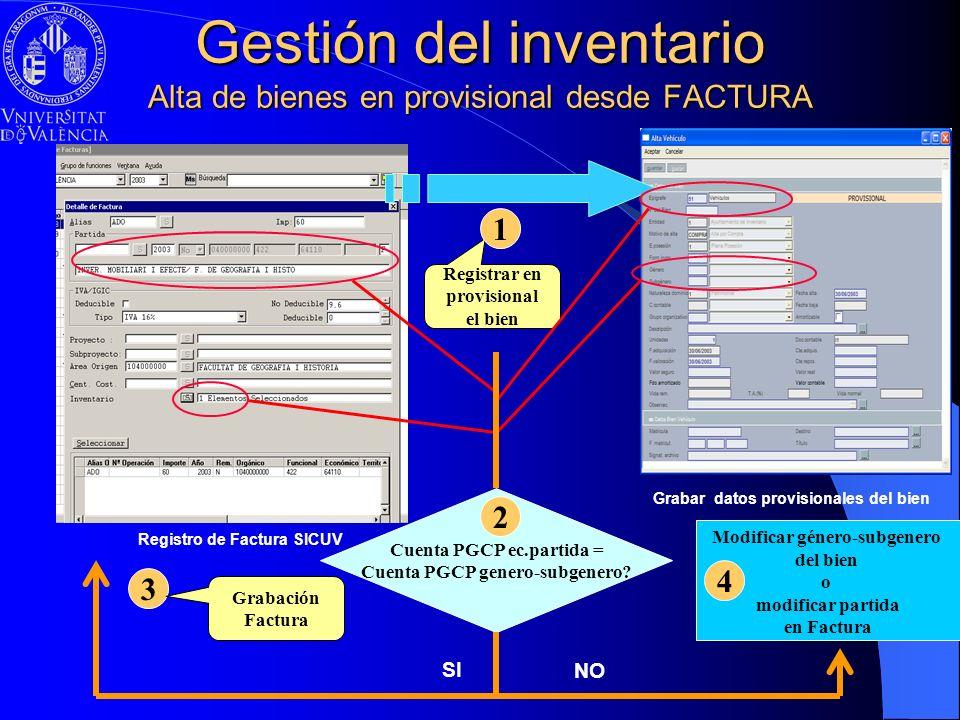 Gestión del inventario Alta de bienes en provisional desde FACTURA Registro de Factura SICUV Grabar datos provisionales del bien Registrar en provisio