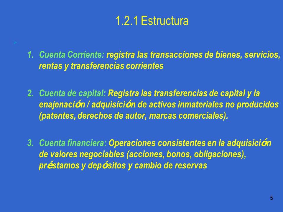 Práctica 1.1 T.Domingo 5 1.2.1 Estructura La Balanza de Pagos es estructura en torno a tres cuentas básicas: 1.