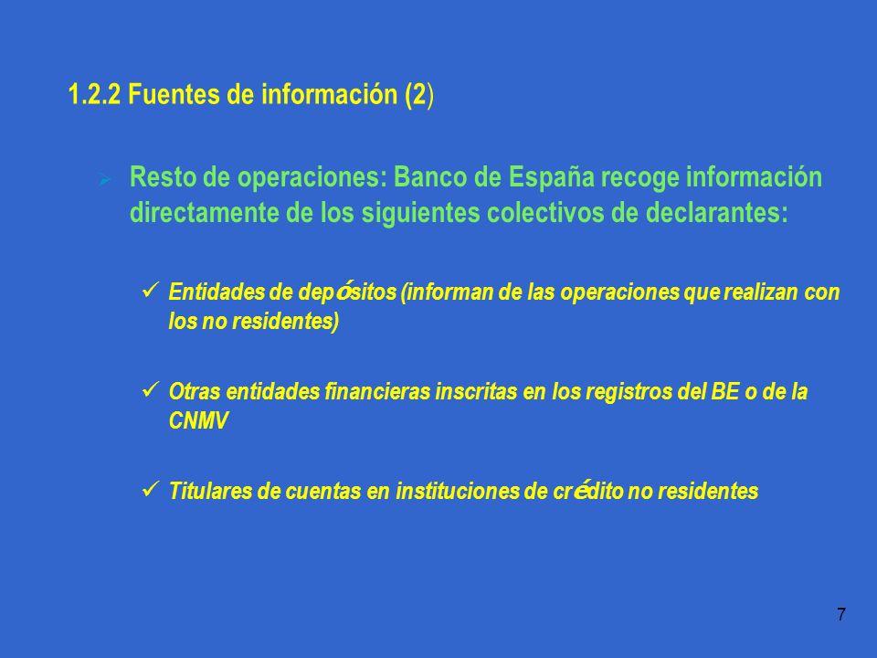 Práctica 1.1 T.Domingo 7 1.2.2 Fuentes de información (2 ) Resto de operaciones: Banco de España recoge información directamente de los siguientes colectivos de declarantes: Entidades de dep ó sitos (informan de las operaciones que realizan con los no residentes) Otras entidades financieras inscritas en los registros del BE o de la CNMV Titulares de cuentas en instituciones de cr é dito no residentes
