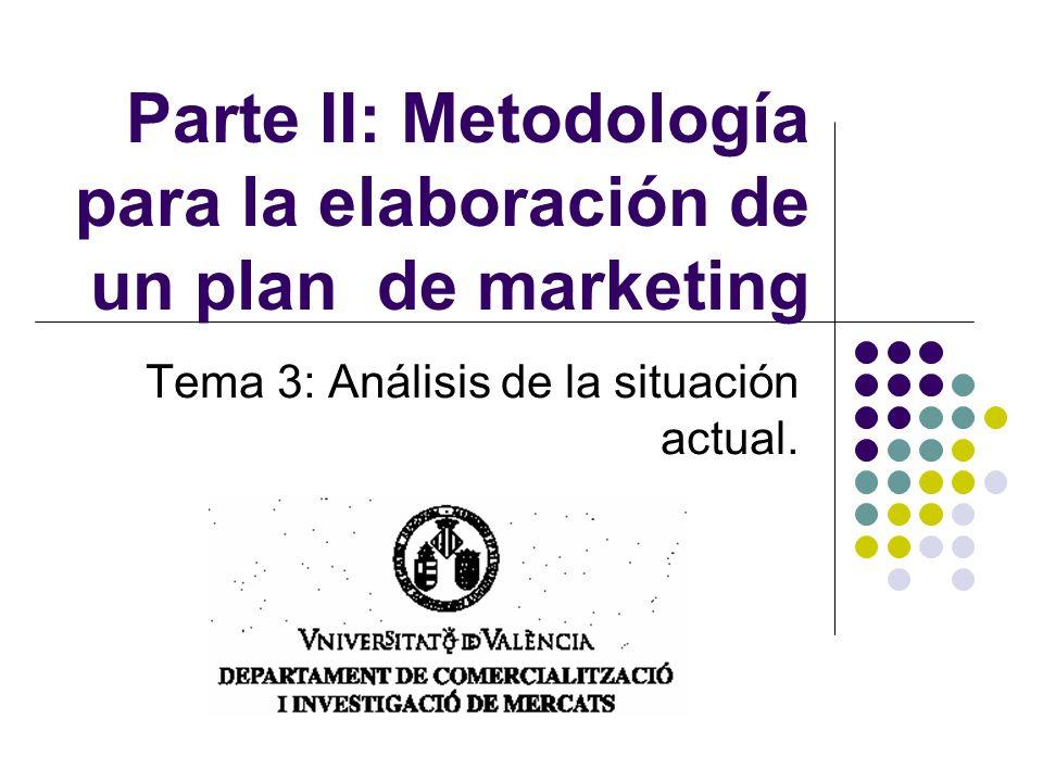 Parte II: Metodología para la elaboración de un plan de marketing Tema 3: Análisis de la situación actual.