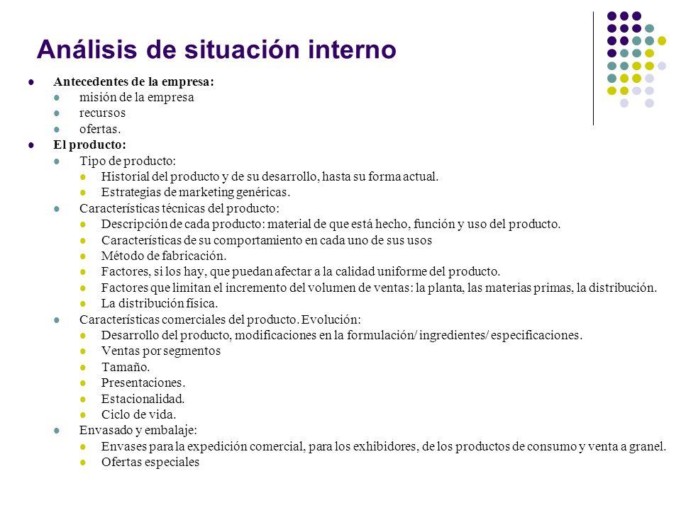 Análisis de situación interno Antecedentes de la empresa: misión de la empresa recursos ofertas. El producto: Tipo de producto: Historial del producto