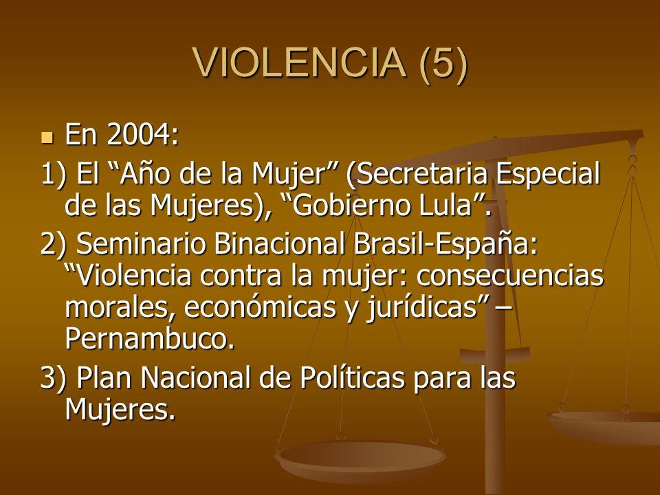 VIOLENCIA (5) En 2004: En 2004: 1) El Año de la Mujer (Secretaria Especial de las Mujeres), Gobierno Lula. 2) Seminario Binacional Brasil-España: Viol