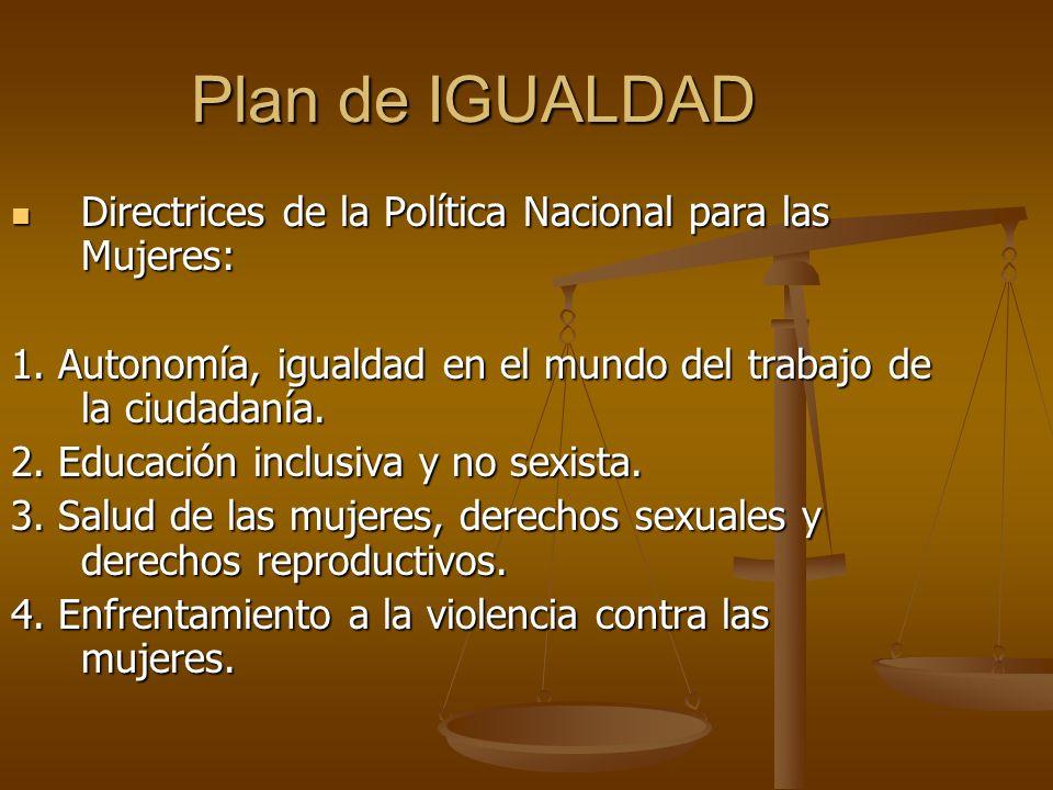 Plan de IGUALDAD Directrices de la Política Nacional para las Mujeres: Directrices de la Política Nacional para las Mujeres: 1. Autonomía, igualdad en