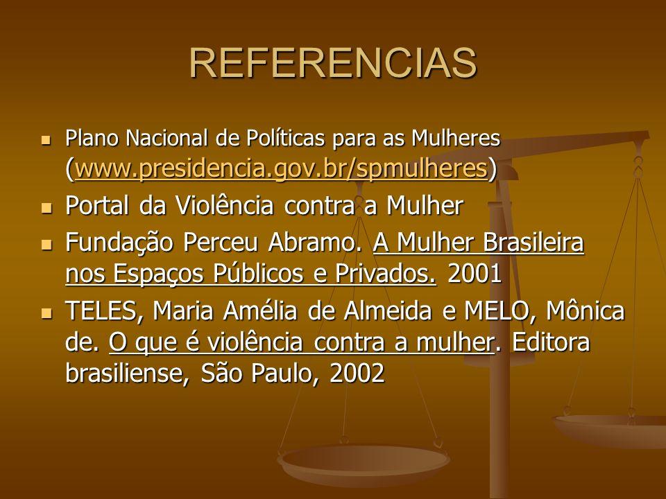 REFERENCIAS Plano Nacional de Políticas para as Mulheres (www.presidencia.gov.br/spmulheres) Plano Nacional de Políticas para as Mulheres (www.preside
